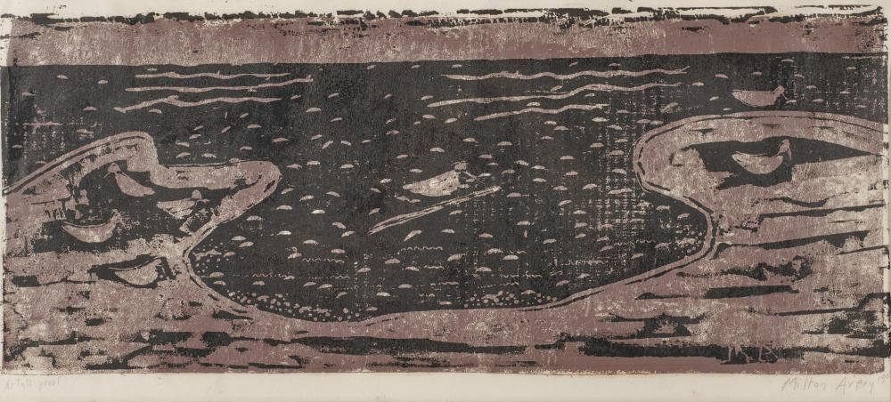 MILTON AVERY, (American, 1885-1965), Birds and Sea, 1955, woodcut, image: 10 x 24 in., sheet: 12 x 28 1/2 in., frame: 18 1/2 x 32 1/2 in.