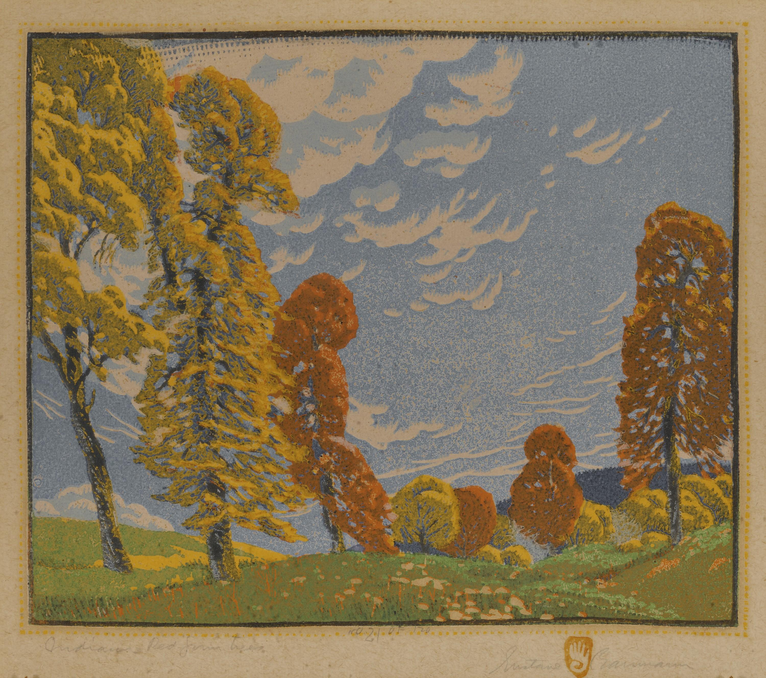 GUSTAVE BAUMANN, (American, 1881-1971), Indiana Red Gum Trees, woodcut in colors, plate: 9 3/8 x 11 1/8 in., frame: 16 3/4 x 17 1/2 in.