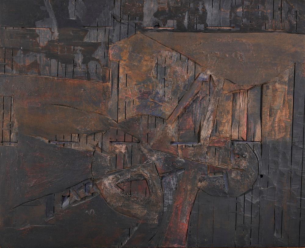 LUCIO MUNOZ, (Spanish, 1929-1998), Selva Negra, 1961, carved and painted wood, 32 x 39 in., frame: 33 1/4 x 40 1/4 in.