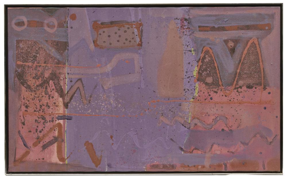 JABULANE SAM NHLENGETHWA, (South African, b. 1955), The Mural Painting Under Process, 1992, oil and sand on canvas, 30 x 49 1/2 in., frame: 31 1/2 x 51 in.