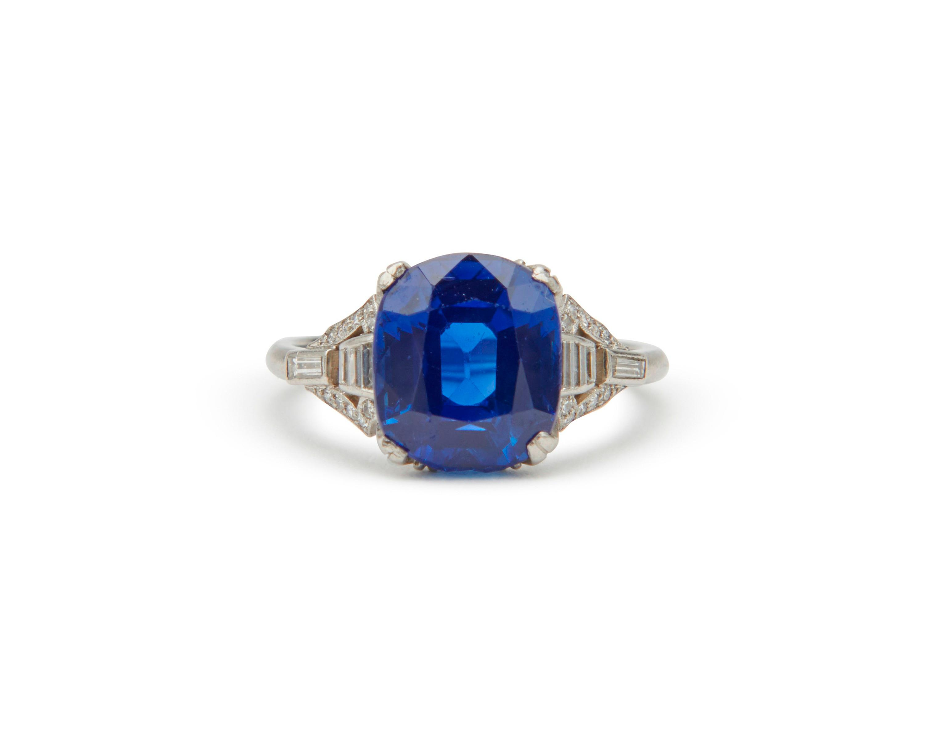 MARCUS & CO. Platinum, Kashmir Sapphire, and Diamond Ring
