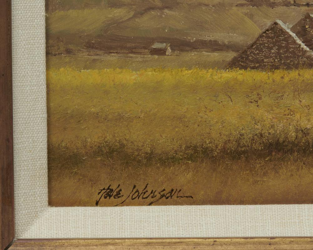 A. HALE JOHNSON, (American, b. 1937), Stone Barns in an Irish Landscape, oil on board, 8 x 18 in., frame: 12 1/2 x 22 1/2 in.