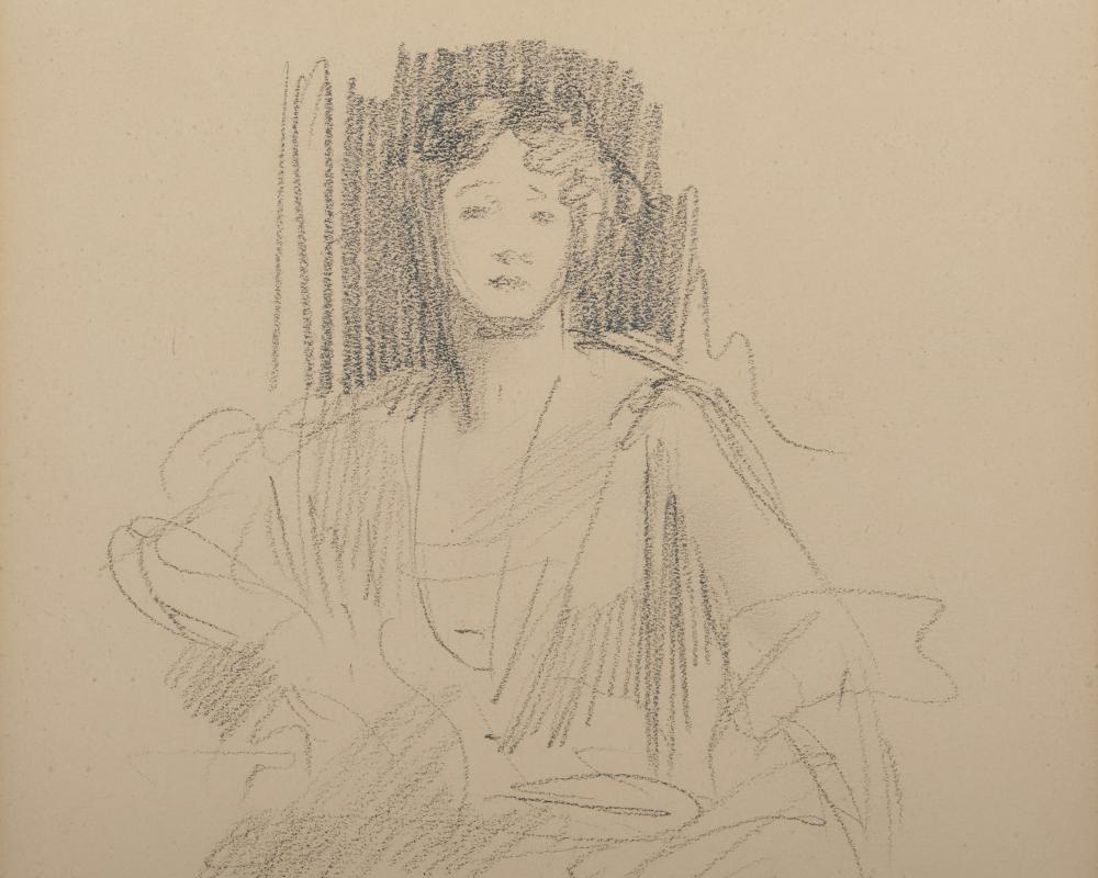 JOHN SINGER SARGENT, (American, 1856-1925), Preparatory Sketch: Grace Elvina, Marchioness Curzon of Kedleston, 1924, pencil on paper, sheet: 10 3/4 x 9 in., sight: 10 1/4 x 8 1/4 in., frame: 19 x 17 1/2 in.