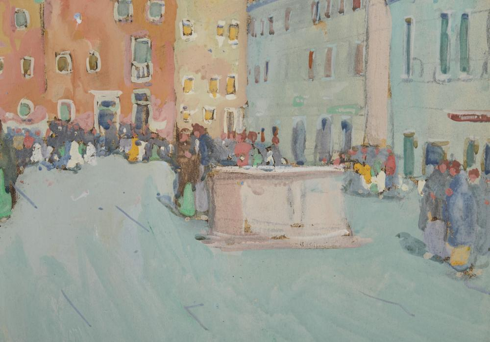 JANE PETERSON, (American, 1876-1965), Campo Santa Margherita, Venice, gouache, sheet: 18 x 24 in., frame: 26 x 32 in.