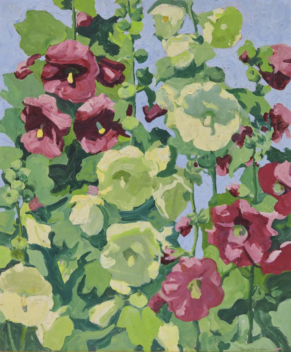 JANE PETERSON, (American, 1876-1965), Hollyhocks, Gloucester, 1952, oil on canvas, 30 x 25 in., frame: 30 x 35 in.