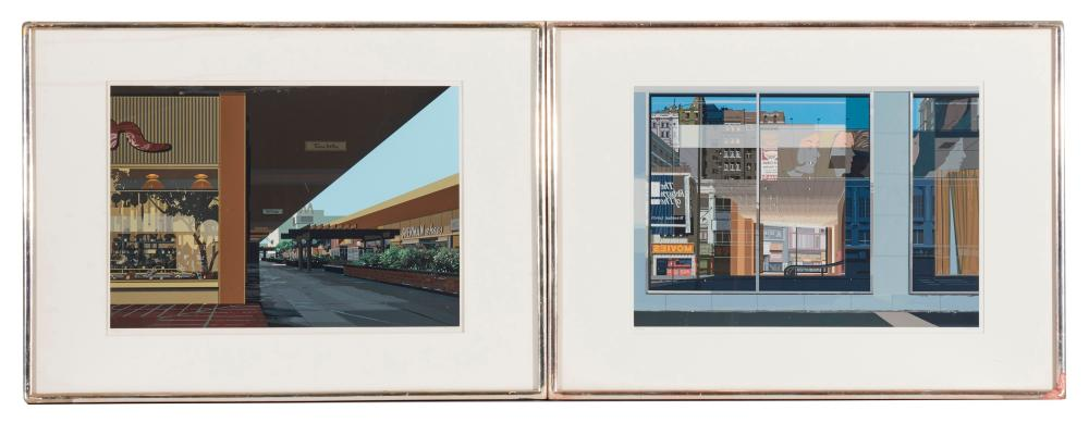 RICHARD ESTES, (American, b. 1932), Manhattan, Movies, Eiffel Tower Restaurant, and Lakewood Mall, from Urban Landscapes III, 1981, four color screen prints on paper, each image 14 x 20 in., each frame 22 x 30 in.