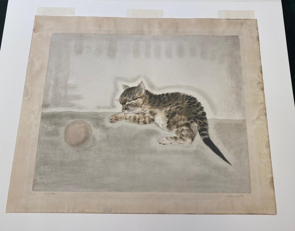 TSUGUHARU FOUJITA, (Japanese/French, 1886-1968), Chaton dormant pres d''une balle, from Les Chats, etching and aquatint, sheet: 14 x 16 3/4 in., image: 11 1/4 x 13 3/4 in., frame: 19 1/2 x 22 in.