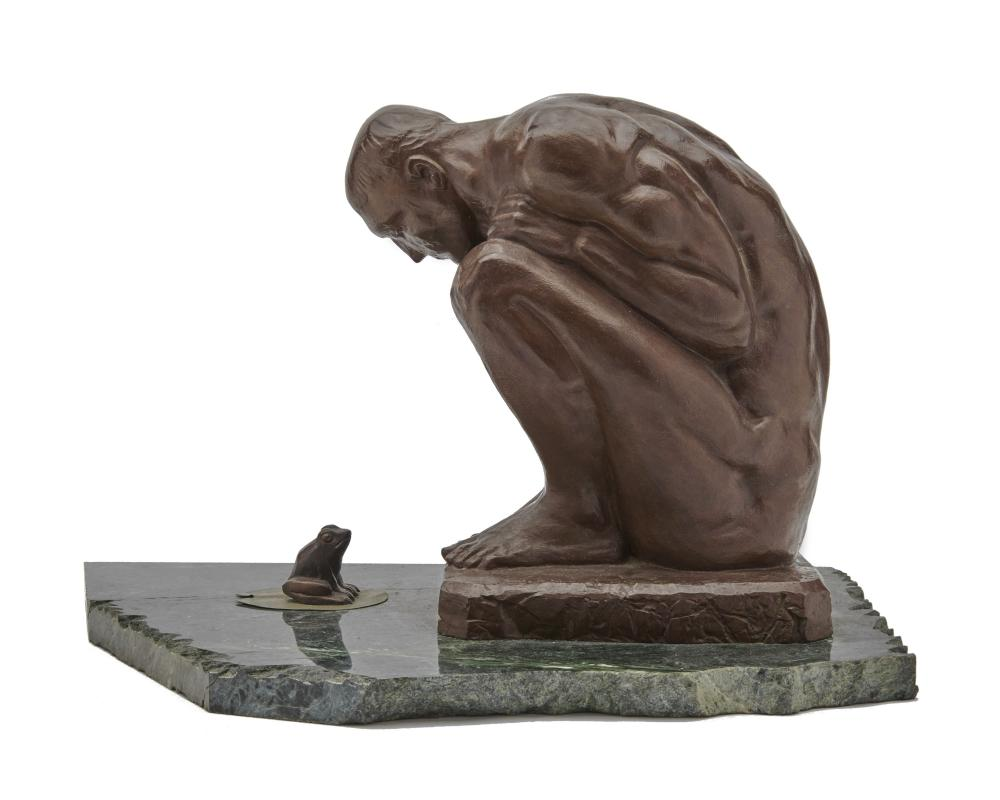 ELFRIEDE MARTHA ABBE, (American, 1919-2012), Man and Frog, bronze, height of man: 11 1/2 in., height of frog: 2 in., length of base 18 in.
