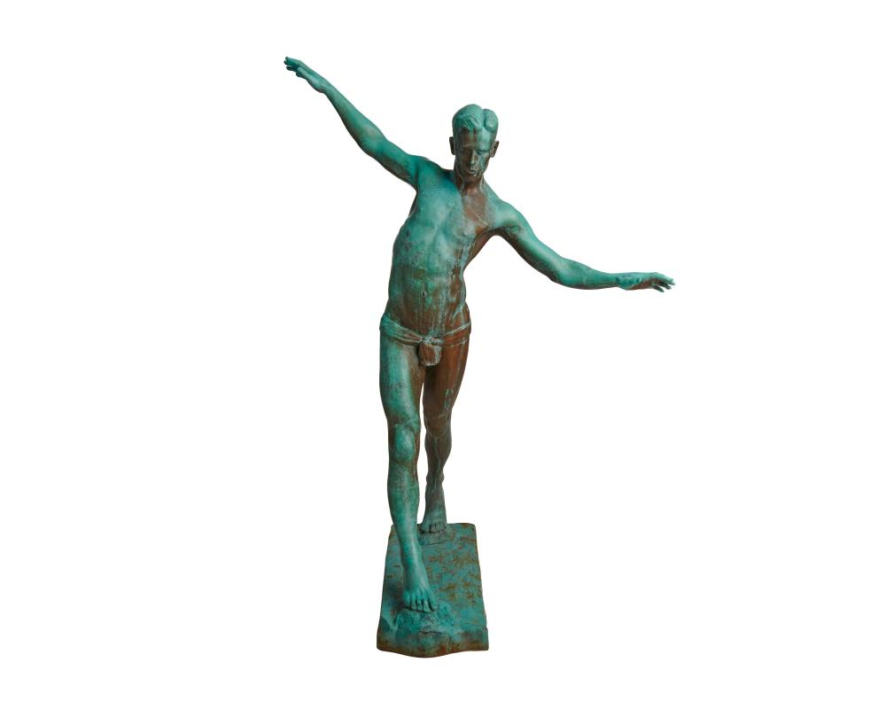 PHILIP SHELTON SEARS, (American, 1867-1953), Stepping Stones, 1923, bronze with green patina, height: 44 in.