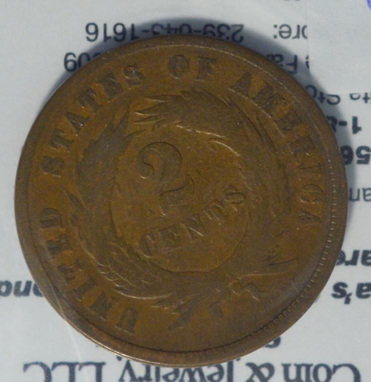 1865 two cent vg for Gulf coast coin and jewelry