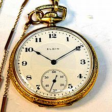 14kyg Elgin Pocket Watch With Fob
