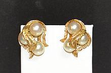14kyg Pearl Cluster Earrings