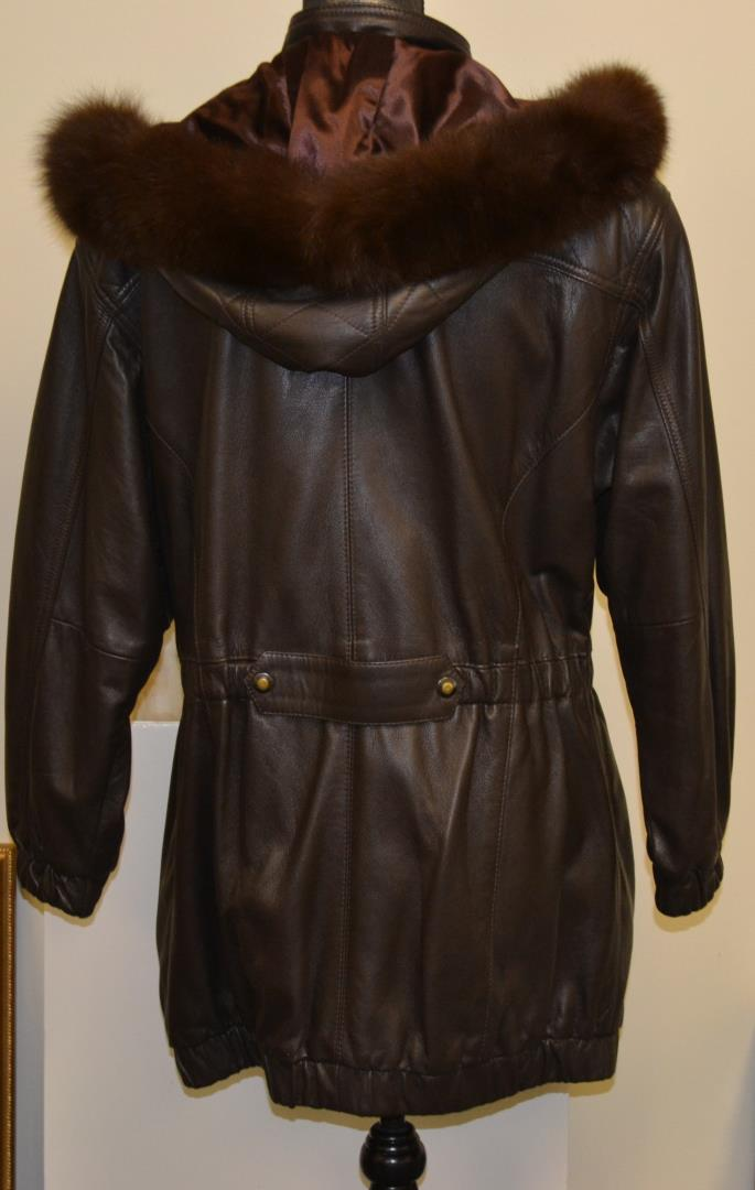 Womens Brown Fox Fur Trim Hooded Leather Coat