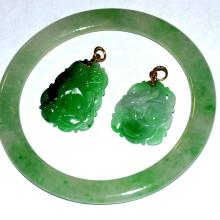 Green Jade Bangle & Pendants