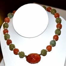 Vintage Carnelian & Jade Necklace