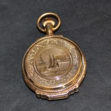 14kyg Pocket Watch With Sailboat Motif