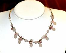 Rose Quartz Necklace, Bracelet & Earrings