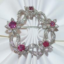 18kt white gold ruby and diamond pin