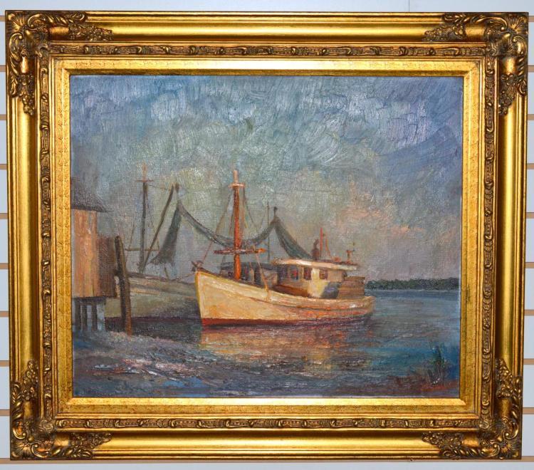 1969 Moran Oil Painting Shrimp Trawlers VP Agnew