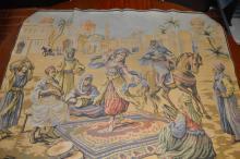French Tapestry Arab Genre Scene Marked Rihs