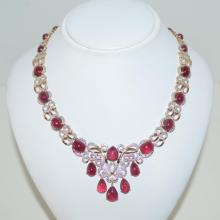 Sterling sliver ruby and diamond necklace