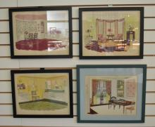 4 Colorful Prints Depicting 1950s/60s interiors