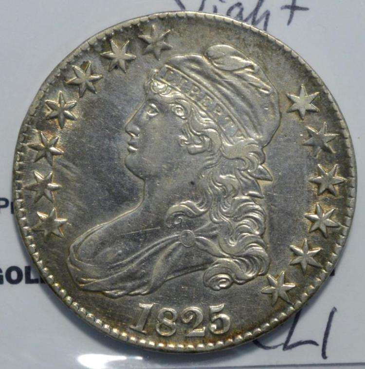 1825 capped bust half dollar xf slightly polished for Gulf coast coin and jewelry