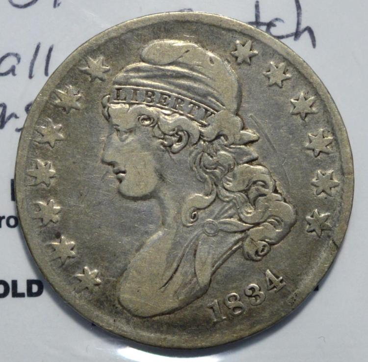 1834 small date capped bust half dollar vf scratch for Gulf coast coin and jewelry