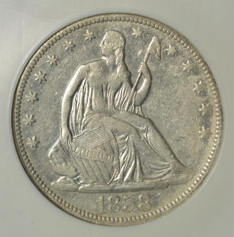1858 liberty seated 50c ngc shipwreck effect for Gulf coast coin and jewelry