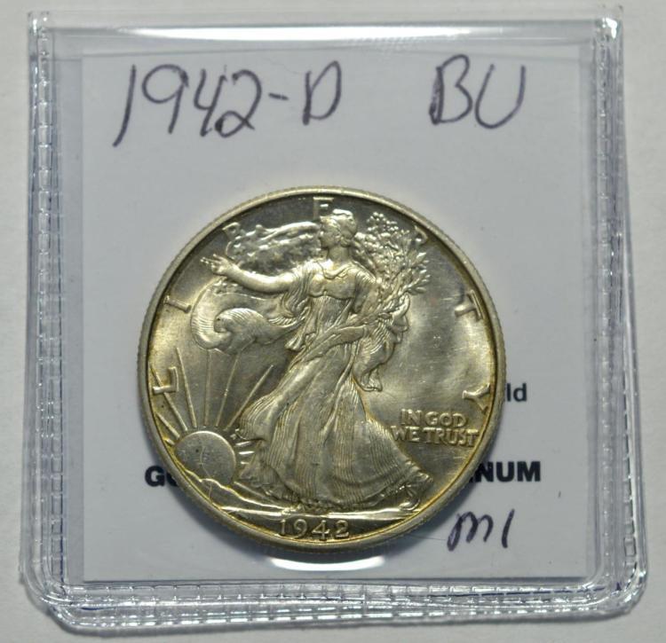 1942 d liberty walking half dollar bu for Gulf coast coin and jewelry