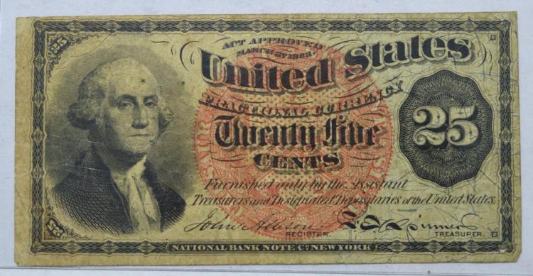 1863 Fourth Issue 25 Cent Fractional Currency
