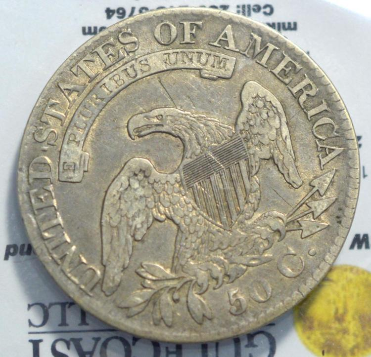1827 capped bust half dollar vf rev scratch for Gulf coast coin and jewelry