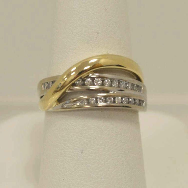14kt two tone diamond fashion band for Gulf coast coin and jewelry