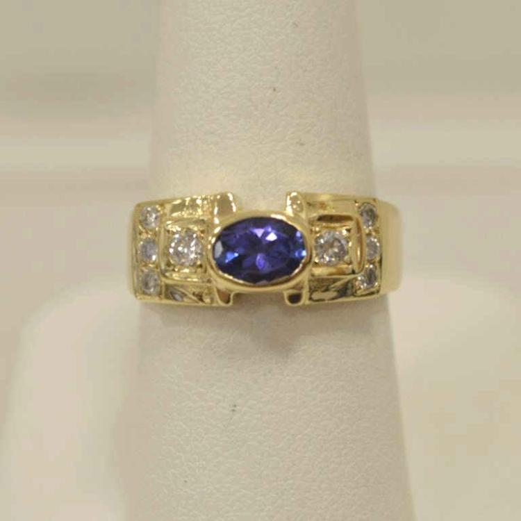 14kt yellow gold tanzanite and diamond ring for Gulf coast coin and jewelry