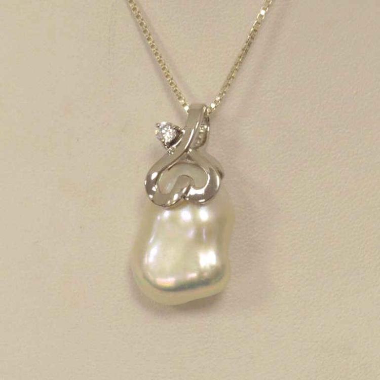 Sterling silver baroque pearl pendant for Gulf coast coin and jewelry