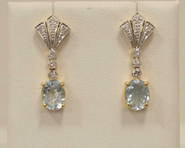 14kt two tone aquamarine and diamond earrings for Gulf coast coin and jewelry