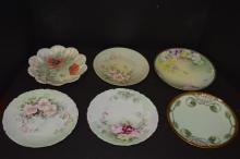 Lot Of 8 Misc Hand Painted Plates