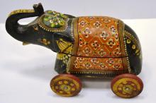 Vintage Wood Circus Elephant on Wheels Pull Toy