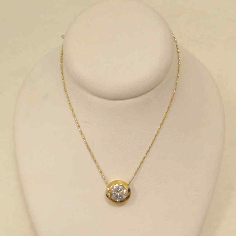 14kt yellow gold diamond solitaire necklace for Gulf coast coin and jewelry