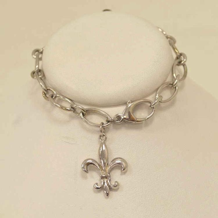 14kt white gold fleur de lis charm bracelet for Gulf coast coin and jewelry