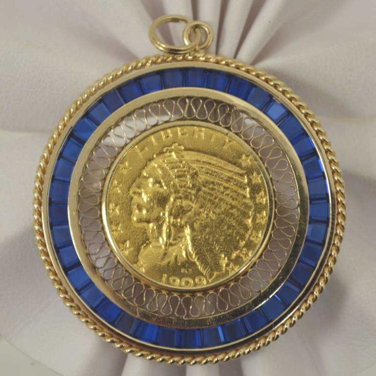 1909 gold indian head coin pendant for Gulf coast coin and jewelry