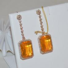 14kyg Fire Opal & Diamond Drop Earrings