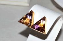 14kyg Triangle Shaped Ametrine Earrings