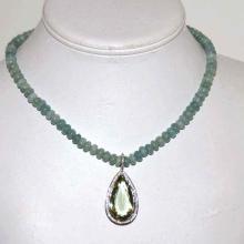 18kwg Prasiolite & Aquamarine Necklace