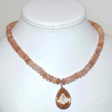 18kwg Rudilated Quartz & Morganite Necklace