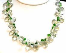 14kwg Green Amethyst & Tsavorite Necklace