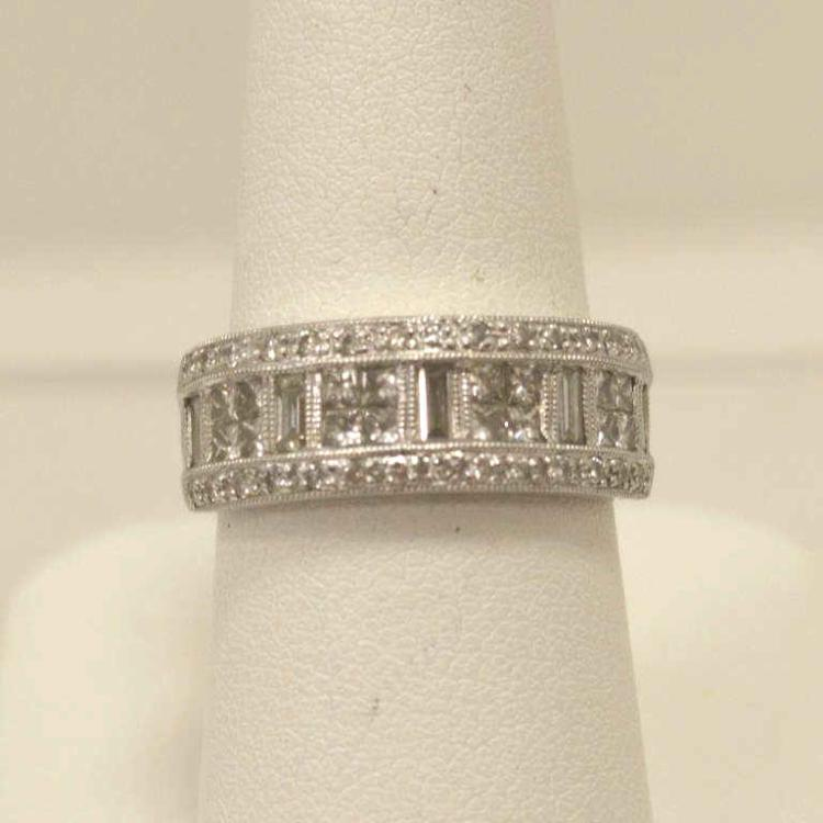 Platinum diamond fashion band for Gulf coast coin and jewelry
