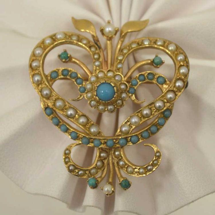 14kt yellow gold turquoise and pearl pin pendant for Gulf coast coin and jewelry