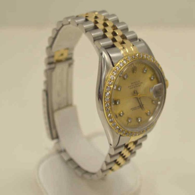 Man 39 s s g rolex datejust diamond bezel dial for Gulf coast coin and jewelry