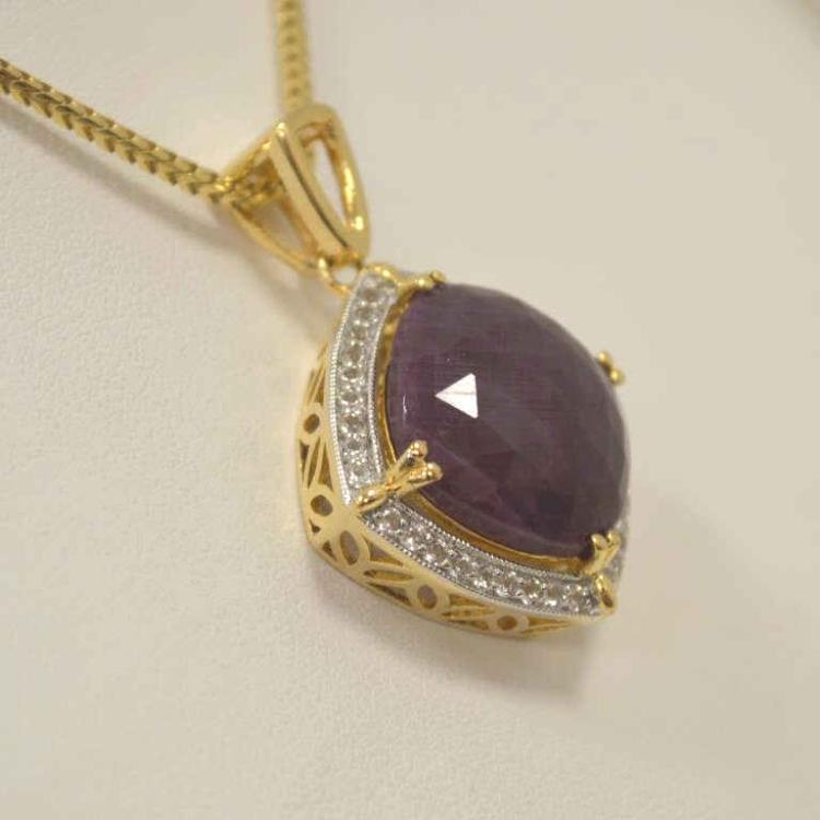 Gold plated silver ruby and topaz necklace for Gulf coast coin and jewelry
